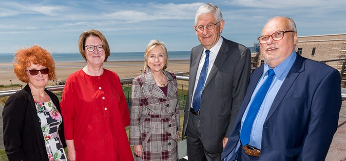 Secretary Clinton during her visit to Swansea University.