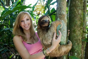 Becky Cliffe with sloth
